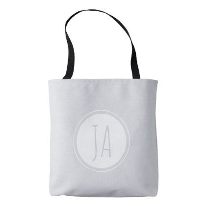 Stylish Gray Monogram Initials Simple Tote Bag - initial gift idea style unique special diy