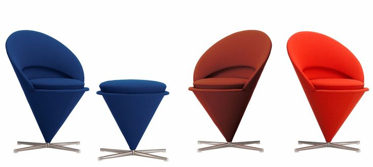 Swivel fabric armchair CONE CHAIR by Vitra design Verner Panton
