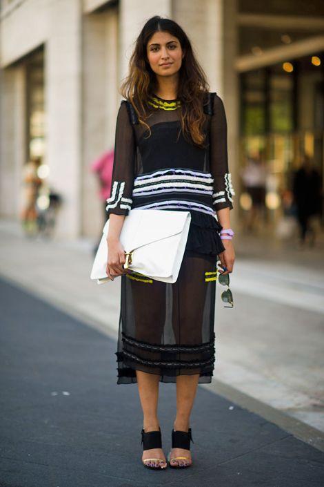 Proenza Schouler dress, Dries Van Noten shoes, Ray-Man sunglasses and an ASOS clutch.