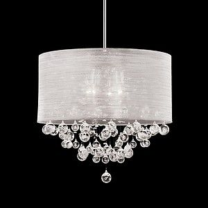 """New Modern Drum Shade Four Lamp Pendant with Clear Bubble Balls Chandelier 20"""""""