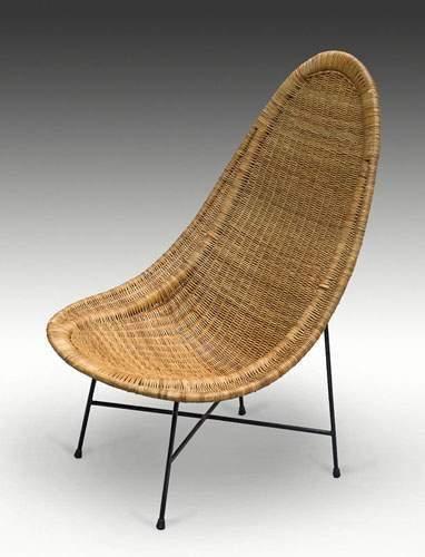 Ico PARISI (1916-1996) Rare fauteuil à assise et dossier en vannerie de moelle de rotin reposant sur une structure en tube de métal laqué