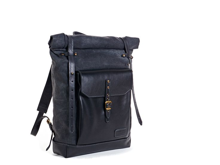 Dark grey backpack. Waxed canvas leather by InnesBags on Etsy