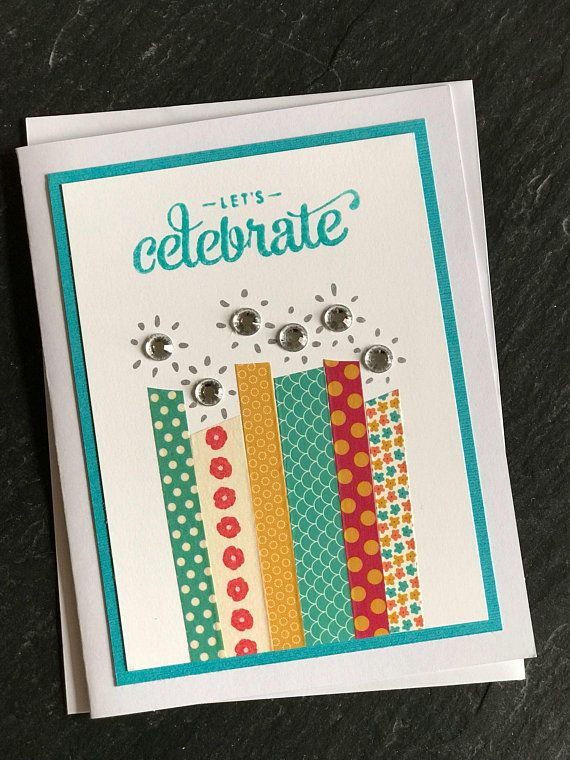 Birthday Card With Candles Happy Handmade Greeting Washi Tape