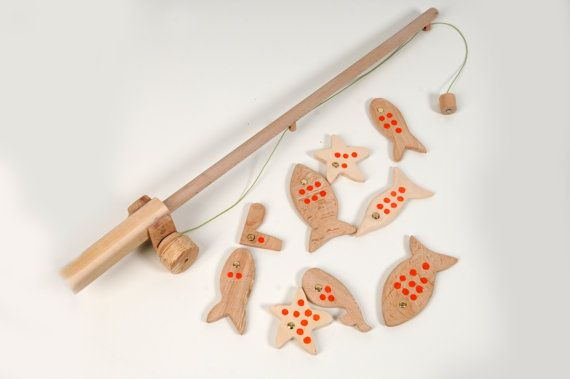 Wooden Fishing Game  Set of 10 Wooden Toy  Pretend by beigebois