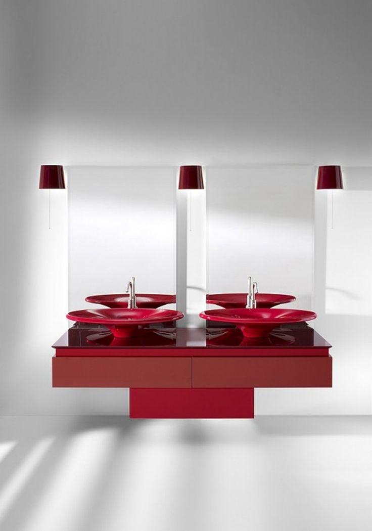 Bathroom Red, Red Bathrooms, Bathroom Interior, Bathroom Sinks, Bathroom  Ideas, Minimalist Bathroom Furniture, Color Palette Red, Color Red, Sink  Design