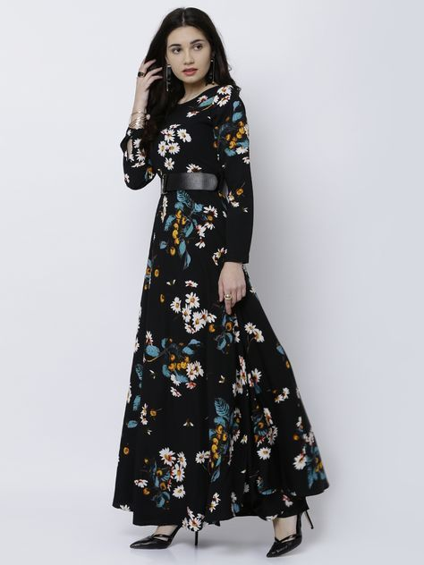 0258485c4d9 Tokyo Talkies Black Printed Maxi Dress  Black Polyester Printed Party