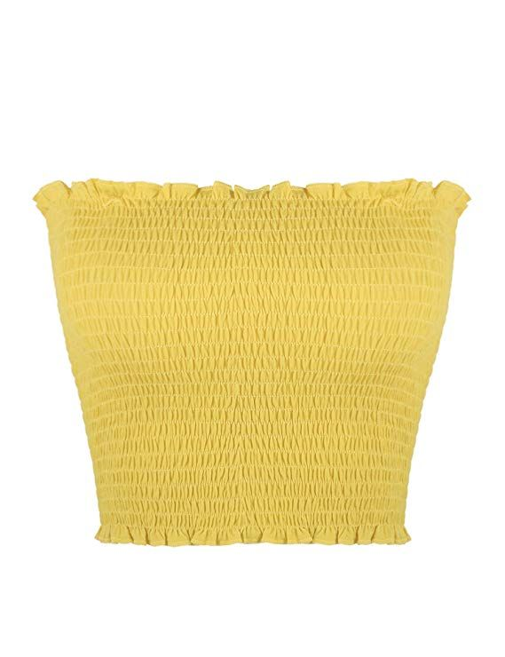 849a7caa4c Sweetbei J Womens Strapless Pleated Summer Sexy Bandeau Tube Crop Tops  Yellow M at Amazon Women s Clothing store