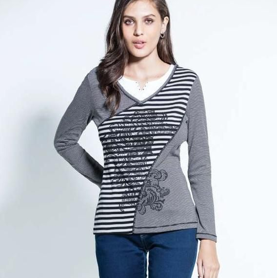 """Kalisson """"Lucy"""" layered effect stripey long sleeve tee"""
