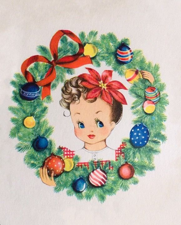 Unused VTG Gibson Christmas Card Cute Girl Pretty Young Lady w/ Ornament Wreath | eBay