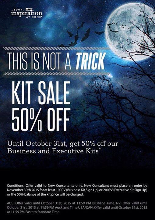 It's a great time to sign up with Your Inspiration At Home (YIAH) during the Halloween 50% off Business and Executive kits offer.(conditions apply)  Contact me today to discuss your opportunity with Your Inspiration At Home. http://www.facebook.com/creationswithYIAH