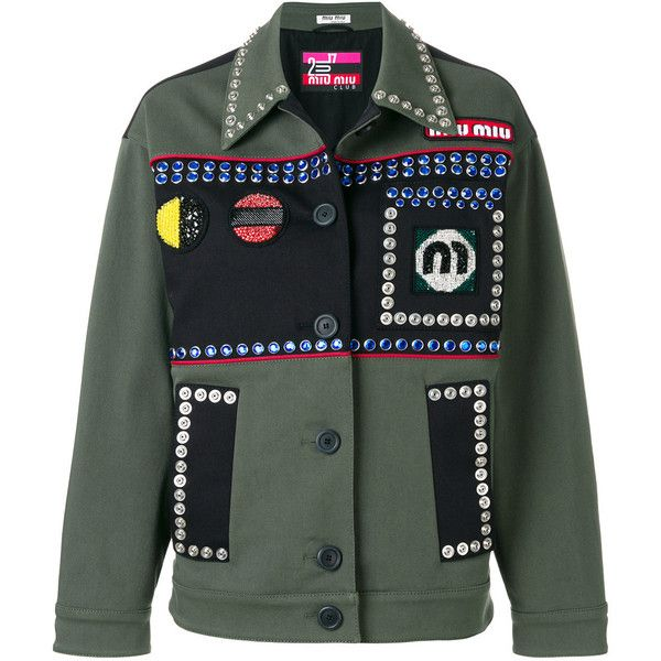 Miu Miu crystal-embellished field jacket ($3,301) ❤ liked on Polyvore featuring outerwear, jackets, green, military jackets, miu miu, long sleeve jacket, miu miu jacket and collar jacket