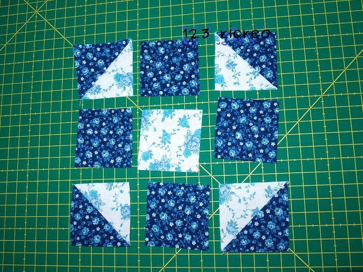 Triangoli blu e bianchi - due mezzi #quadrati - #Patchwork - video - canale 123ricreo su YouTube