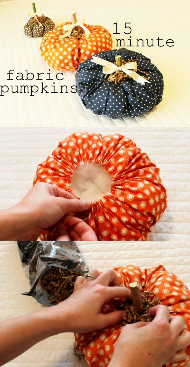 Make your fall decor extra adorable with fabric pumpkins. They only take 15 minu…