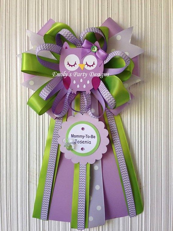 Lavander and lime green Owl Mommy-To-Be Baby Shower Corsage, Mommy To Be Corsage, Baby Shower Corsage, Owl Corsage.