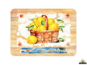 Tuftop Large Glass Chopping Board In Lemon Fruit Design