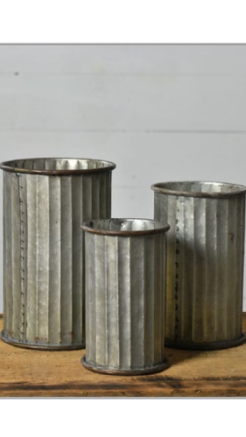 Tin vases, set of 3, farmhouse, tabletop, vessels, vase, vintage, decor, display, fall, winter, christmas, botanicals, arrangement, fixer upper style