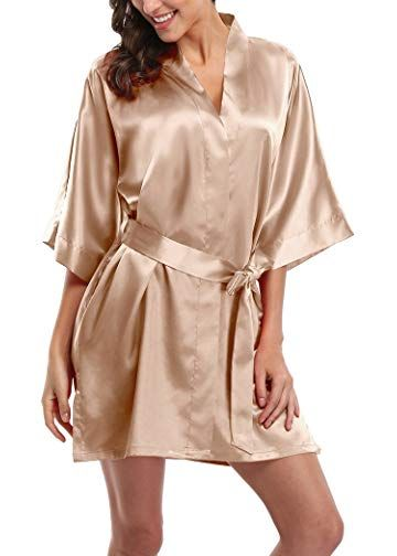 235dd8cc6 Women s Short Satin Kimono Robes Pure Color Sleepwear Bathrobe for Wedding  Party
