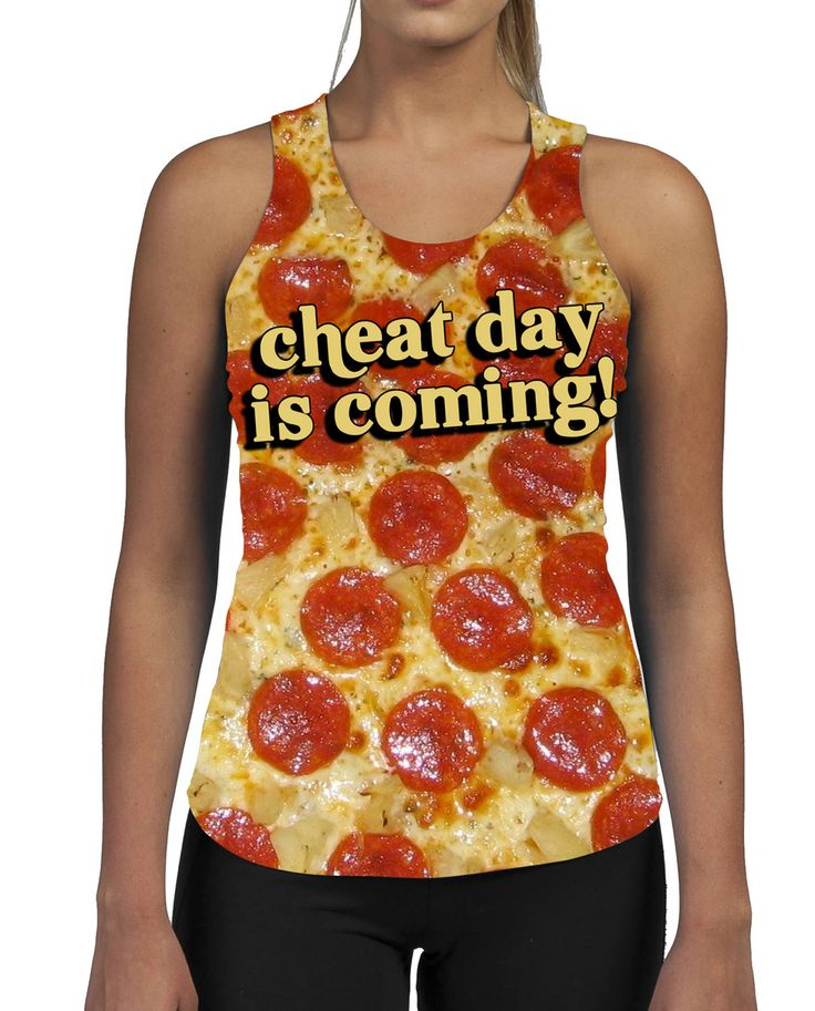 Cheat Day Is Coming WOMENS ALLOVER Gym VEST Tank Pizza Top Summer Funny Beach Sweat Work Out Uforia Fitness by SaveThePeople2016 on Etsy