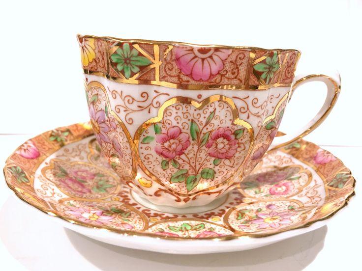 Salisbury Tea Cup and Saucer, Antique Tea Cups, Tea Set, Antique Teacups, English Bone China Cups, Floral Gold Cups, Bridal Tea Party by AprilsLuxuries on Etsy
