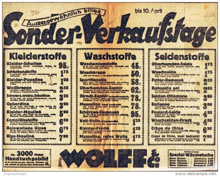 Original-Werbung/ Anzeige 1926 - STOFFE / WOLFF - MÜNSTER - ca. 260 x 200 mm