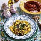 Pasta med skogschampinjon, tryffelolja och chorizo - Recept från Mitt kök - Mitt Kök