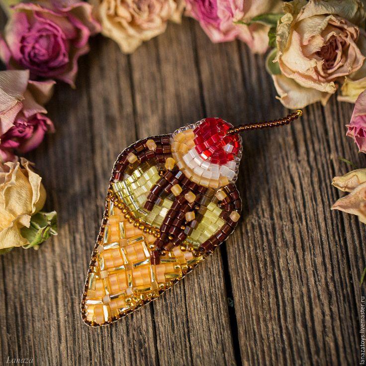 Купить Брошь вышитая бисером Мороженка - брошь из бисера, бисер, Вышивка бисером, продажа