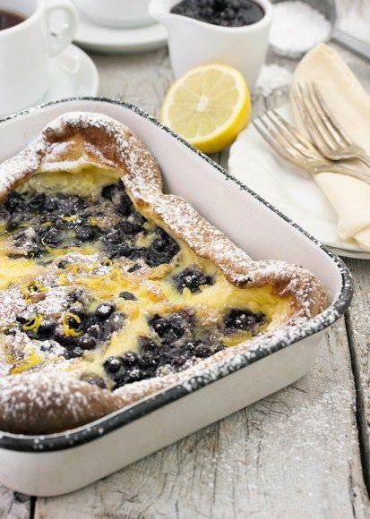 Pannukakku Finnish Pancake with Wild Blueberries and Lemon