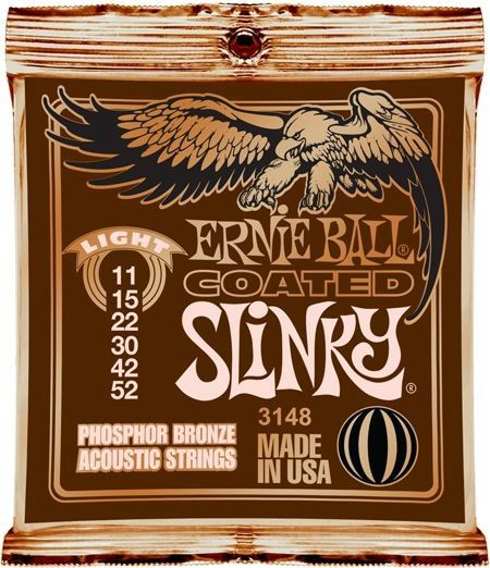 Ernie Ball 3148 Coated Slinky Acoustic Guitar Strings | Light