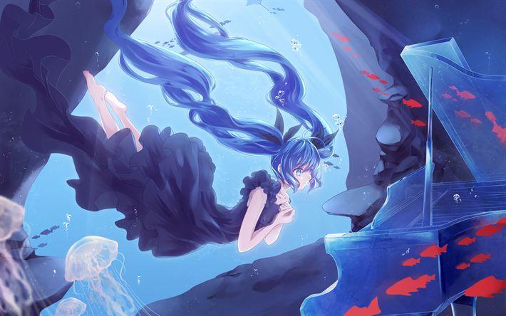 Download wallpapers Shinkai Shoujo, Hatsune Miku, anime characters, blue hair, female characters