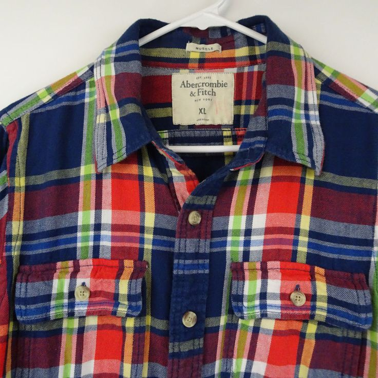 Abercrombie & Fitch Mens XL Muscle Plaid Flannel Shirt Blue Red Button Down M303 #AbercrombieFitch #ButtonFront