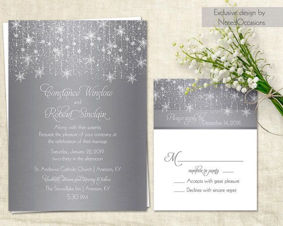 Winter Wedding Invitations | Silver Snowflake Winter Wedding Invitations  Dangling Lights And Snowflakes | DIY Wedding