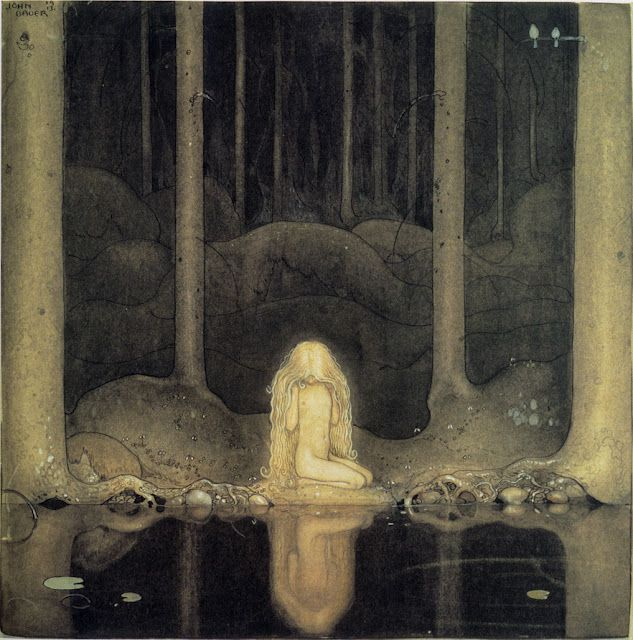 çizgili masallar: John Bauer, Swedish Folk Tales  Click for more. Note: Shapes of washes: