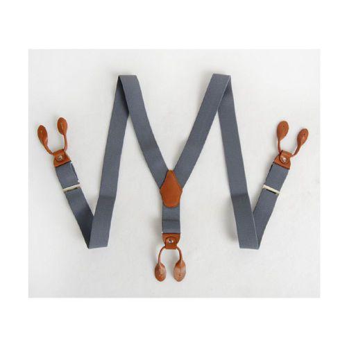 Mens-Elastic-Leather-Button-Suspenders-Adjustable-6holes-Braces-Gray