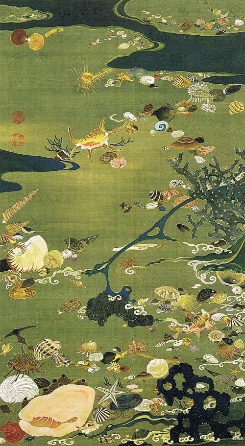 """動植綵絵 第二期( 1761-1765 ), 24. 貝殻図[ばいこう ず] , """"Pictures of the Colorful Realm of Living Beings"""", Jakuchu Ito"""