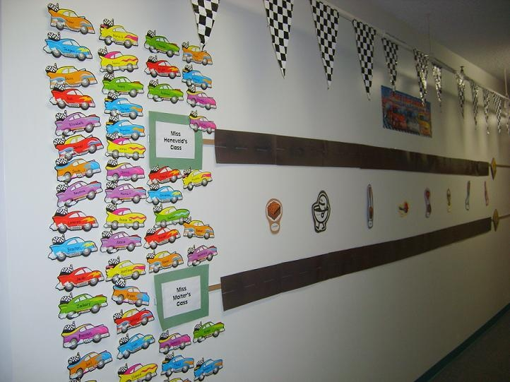 "Racecar theme with students from one class ""competing"" against another in the hallway. One suggestion -- to follow AR best practice, make the ""pit stops""  10%, 20%, 30% (etc.) progress toward their goal instead of 5, 10, 15 (etc.) point levels."