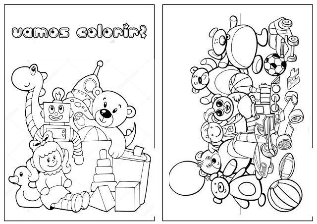 Livro Para Colorir Para Imprimir Tema Brinquedos Brinquedos