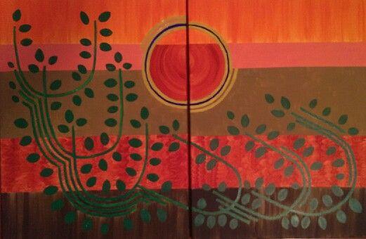 Desierto en otoño, acrilico en lienzo, by @Erick Gutierrez