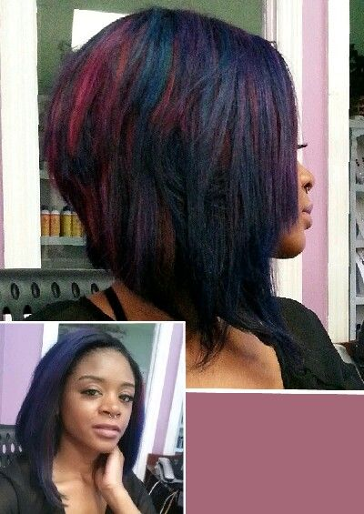 Asymmetric Bob Layers With Burgundy And Blue Highlights