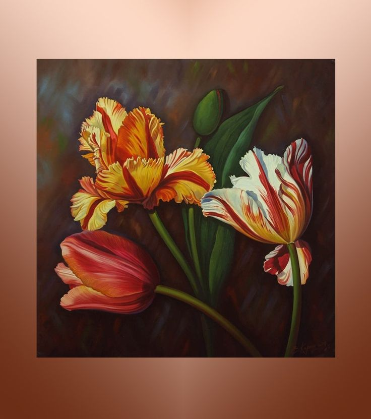 32x32 floral painting flowers tulips oil painting on canvas original artwork handmade painting