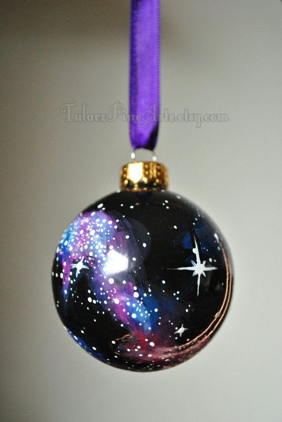Hand Painted Cosmos Christmas Ornament Christmas By Tulaczfinearts Glass Christmas Ornament Outer Space Galaxies Milky Way Nebula Nigh