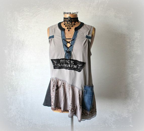 Black Sabbath Shirt Recycled Clothes Rustic Tunic Rock Band Sleeveless T-Shirt DIY Concert Shirt Women's Denim Top Art Clothing L 'RICKEE'