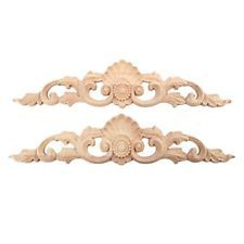 2pcs 30x6.5cm Wood Carved Long Onlay Applique Unpainted Furniture Door Europe...