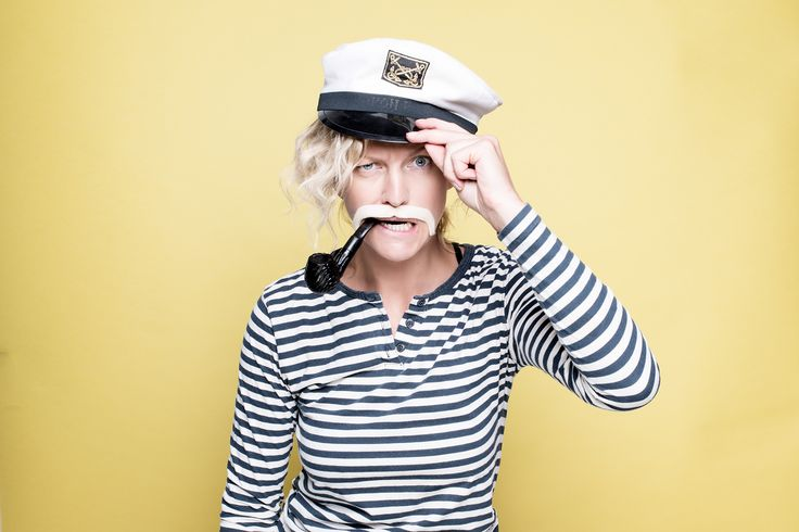 Sailor captain woman with moustache