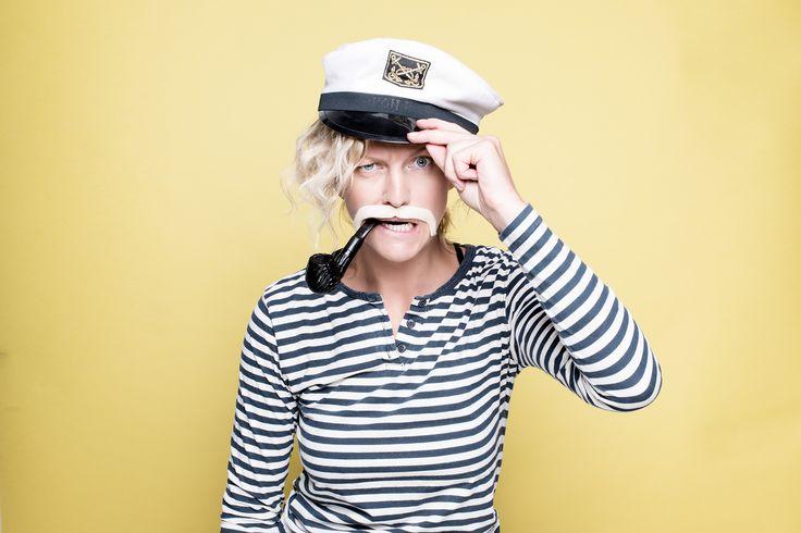 Sailor captain woman with moustache
