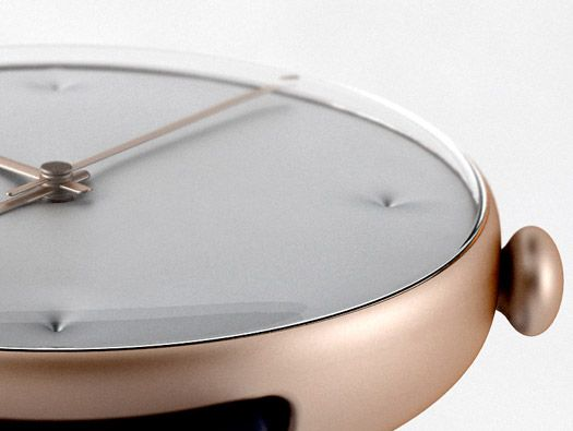CHESTER WATCH BY JONAS ETTE, TIM PRIGGE, SIMON KUX an alloyed metal body with a domed glass. Numbers on the two different dial faces are handmade by embossing