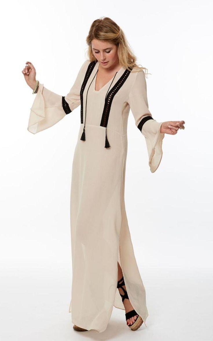 Cream Long Kaftan Dress - SilkFred