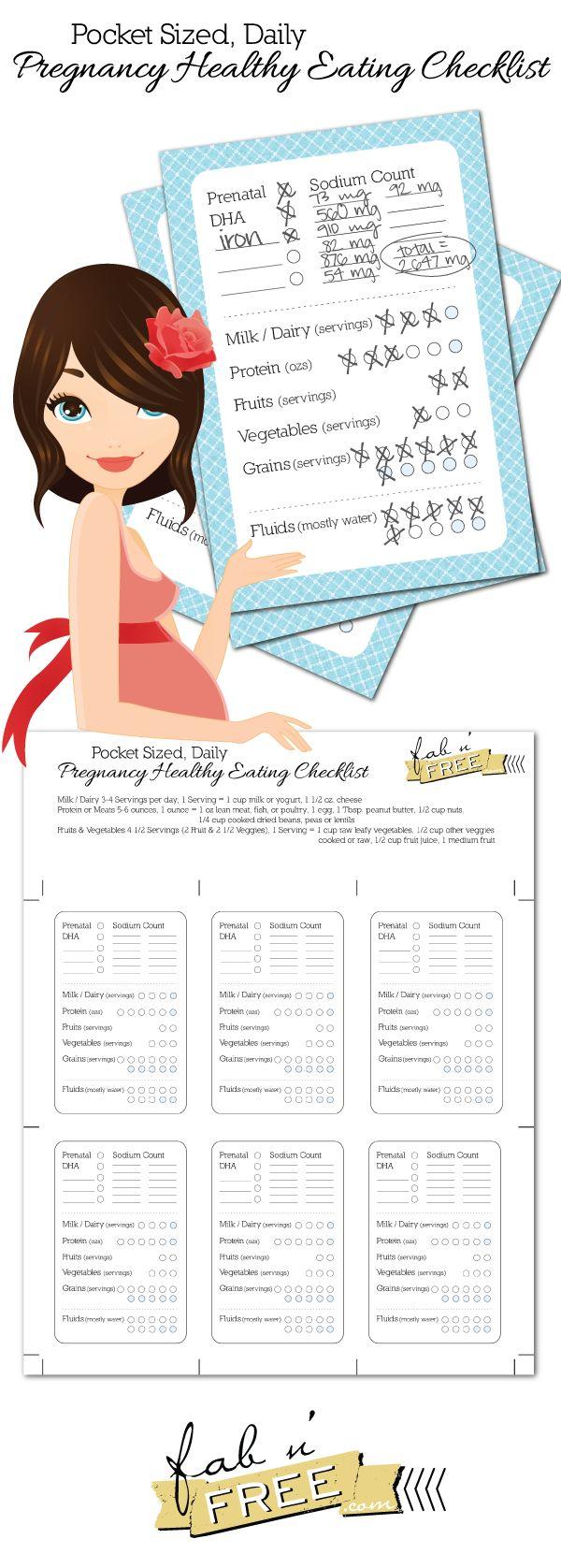 fabnfree.com   Pocket Sized Daily Pregnancy Healthy Eating Checklist Free Printable
