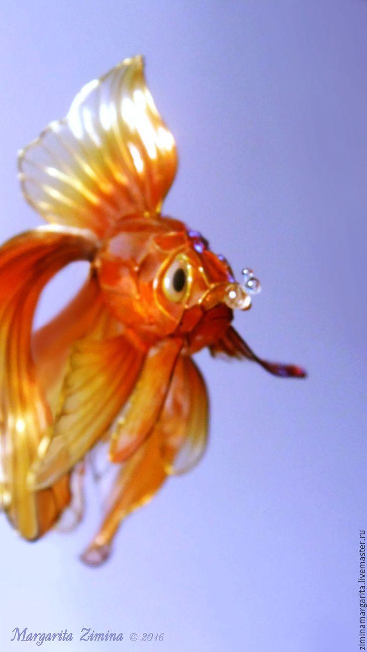 Купить Золотая рыбка. Вуалехвост. Ювелирное украшение. - оранжевый, рыба, рыбка, золотая рыбка, вуалехвост. Exquisite Wire and Resin Kanzashi Flower Hair Jewelry