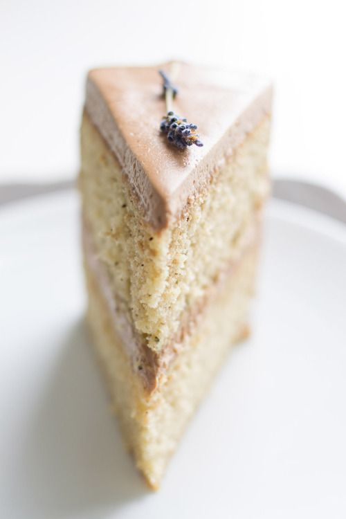 Earl Grey Cake w/Chocolate Lavender Frosting.