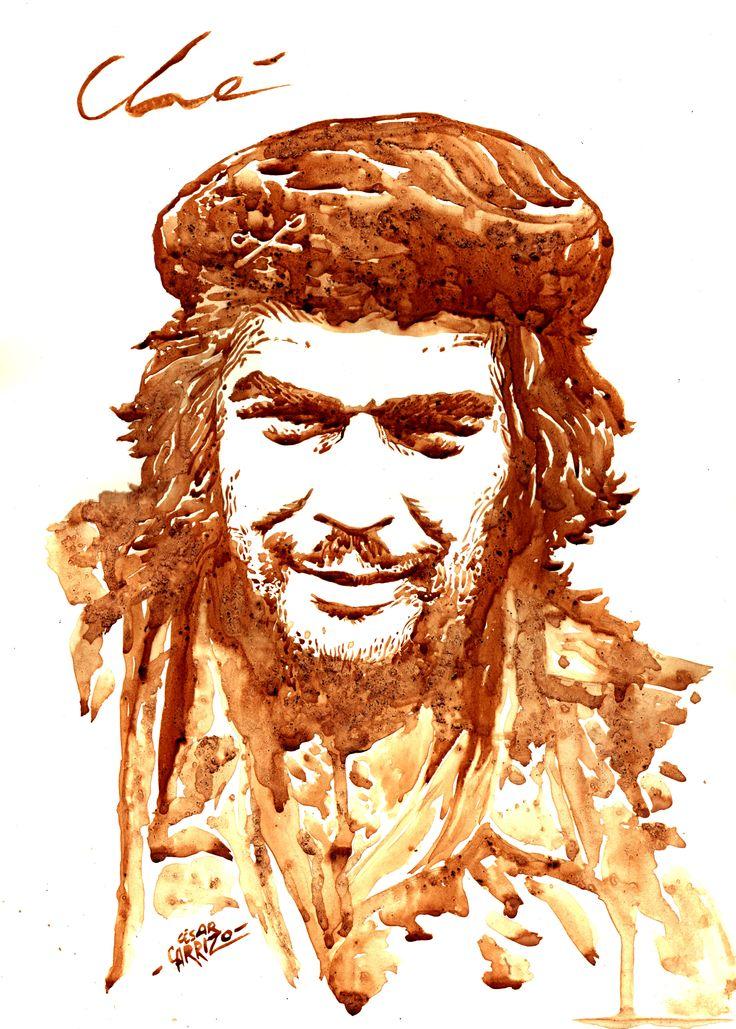 Retratos de Café   001   Ché Original Soporte   Hoja satinada brillante 140 grs  Formato   A3 29,7x42 cms. Café   Dolca (Argentina), Sello Rojo Mocca (Colombia) y los últimos granitos de Colcafé Caramelo (Colombia)